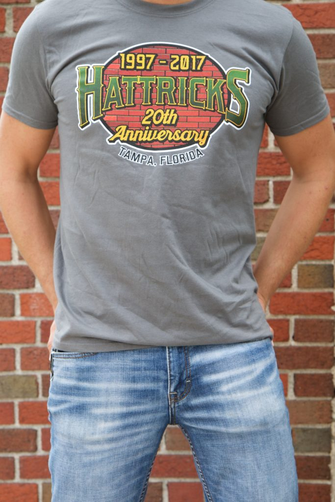 20th Anniversary T Shirt Bricks Oval Charcoal